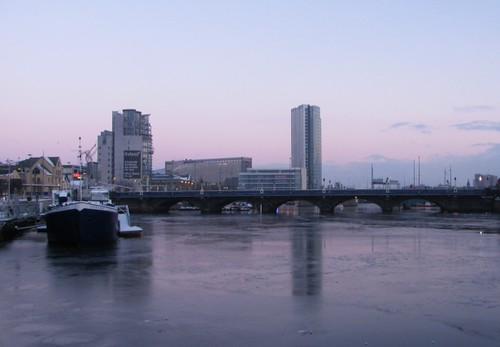 Icy River Lagan near Christmas