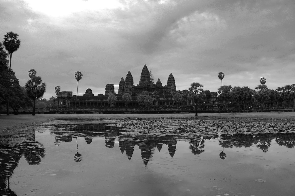 reflection over angkor wat