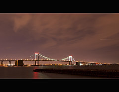 It is because Humanity has never known where it was going that it has been able to find its way... (FerPecT_sHotz) Tags: bridge newyork night plane lens lights nikon air flight longisland jfk queens kit atlanticocean 2010 christmasnight forttotten throgsneck bronz crossislandparkway