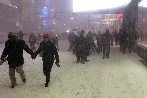 Couple in Times Square - New York Blizzard Snowstorm Blargfest