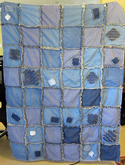 Denim Rag Quilt (MossyOwls) Tags: handmade blanket quite patches raggedy ragquilt