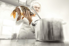 The Cook (Csheemoney) Tags: lighting fish hot cooking kitchen composite photoshop soup stew big cook steam pot chef belgrade retouch beograd nemanja strobist pesic nostrobistinfo csheezio cshee csheemoney removedfromstrobistpool seerule2