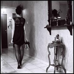 On the way... (Arthur Janin.) Tags: light shadow bw white black sexy 6x6 stockings girl beauty dark square arthur model shoes dress ombre bronica frame medium format asa 3200 bas sq ilford miror janin