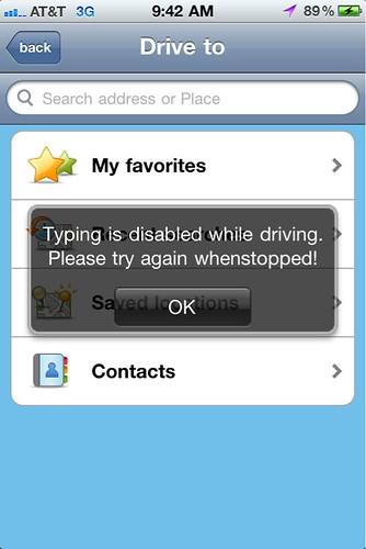 Waze prevents typing while driving!
