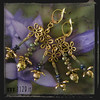 MAFIOR orecchini dorati fiori verde blu blue green golden flower earrings