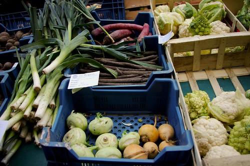 Leeks, Cauliflaur, Purple Carrots