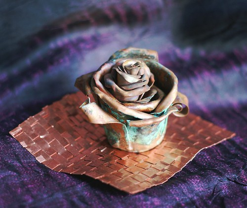Copper Rose Incense Burner - Product Photo