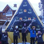 Jocelyn Ramsden on top podium step at Lake Louise GMC Cup GS