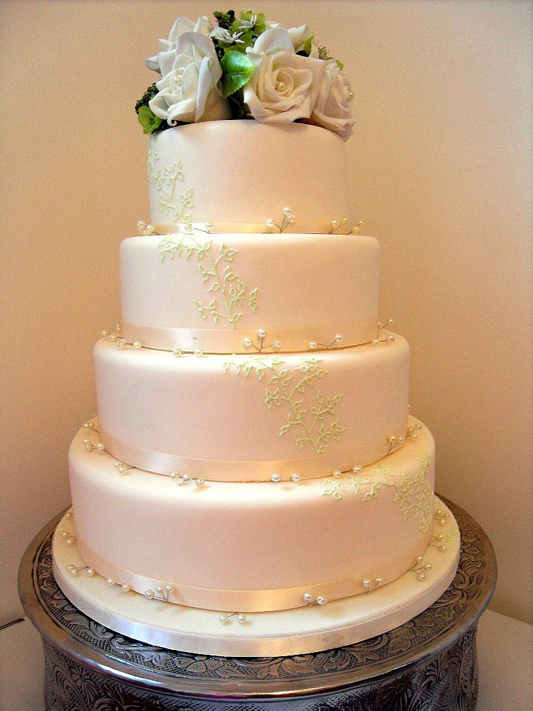 Ivory & Green Wedding Cake