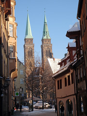 st sebald church nuremburg (gruntpig) Tags: old city trip travel 2 two building tower clock tourism church look st stone architecture germany bayern deutschland big amazing ancient tour looking view religion nuremberg great large twin landmark adventure architect twintowers aged nuremburg iconic nurnberg 2010 sebald bavariadeutschland stsebaldchurch