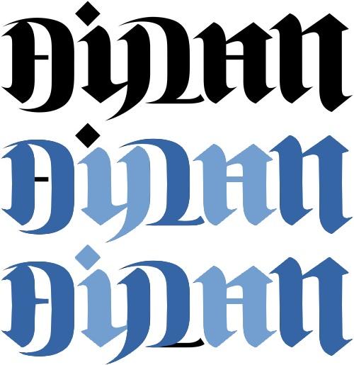 """Dylan"" & ""Aidan"" Oscillating Ambigram"