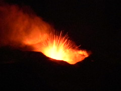 Etna doing her business on the evening of 12 January 2011 (etnaboris) Tags: italy volcano italia sicily etna eruption sicilia vulcano eruzione strombolian stromboliana thisisetnaineruptionontheeveningof12january2011