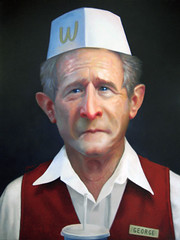 Freedom Fries (Jaime Margary) Tags: show portrait food art painting freedom us george bush acrylic time mother fast fries falcon 12 process jaime questions making dubya presidents lapse 43 margary kalapusa emmax