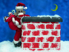Sock Monkey As Santa (monkeymoments) Tags: santa chimney moon rooftop sockmonkeys monkeys bagoftoys animalhumor monkeyhumor sockmonkeyhumor