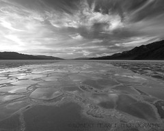 Badwater Black and White, March 17, 2010 (Robert Pearce Photography) Tags: california light sky blackandwhite bw water monochrome clouds reflections landscape march deathvalley formations 2010 badwater nikond200 robertpearce robertpearcephotography