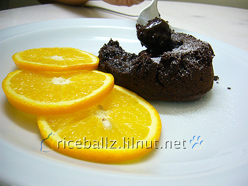 chocolate molten lava cake with orange