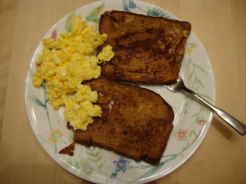 2 eggs scrambled and whole wheat french toast