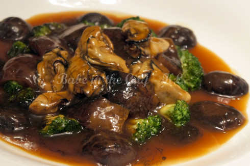 Braised Sea Cucumber w Dried Oyster, Fatt Choy & Mushroom