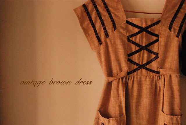 vintage handmade brown dress