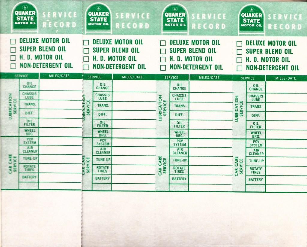 Quaker State oil change door jam stickers, 1960s
