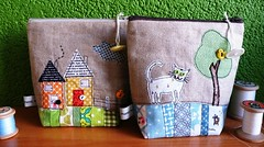 Brandnew story pouches ... (monaw2008) Tags: house tree cat quilt recycled handmade linen pouch button patchwork applique reused emag monaw monaw2008 fatquarterly