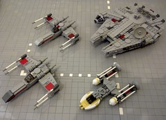 Star Wars Rebel Ships (Babalas Shipyards) Tags: starwars lego space ships xwing rebels millenniumfalcon ywing midiscale