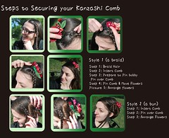 Combs Close Up: How to Wear a Kanzashi Comb, Picture by Picture. (Bright Wish Kanzashi) Tags: flower howto comb tutorial updo hairornament tsumamikanzashi ornatehairpin japanesetechnique