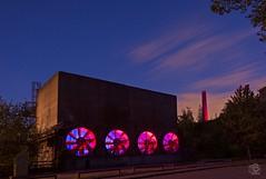 Red Wheels (jennifer.stahn) Tags: night light blue red landschaftspark duisburg nord industrie industriekultur nikon long exposure jennifer stahn sky