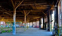 abandoned, bayshore roundhouse, burned out, graffiti, railroad, Southern Pacific (David McSpadden) Tags: abandoned bayshoreroundhouse burnedout graffiti railroad southernpacific
