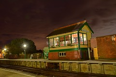 The Signal Box, North Weald Station, Epping Ongar Railway, night shoot, hosted by the EMPRS. 08 10 2016 (pnb511) Tags: northwealdstation eppingongarrailway trains heritage railway signal box night time