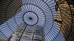 Caged (Sworldguy) Tags: streetphotography streetview lookingup wire round dome circular buildings architecture publicspace blue nikon d7000 skyline view glass abstract circle geometric up silhouette britishcolumbia canada harbourcentre pattern rings