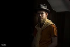 Man in black hat (salas-3) Tags: grid face photography nikon portrait videolight light hat man