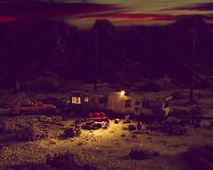 Home, Sweet Home (f/28) Tags: light sky usa home car mobile night dark miniature model desert 187 diorama h0
