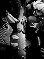 Taipei underground - confrontation (liver1223) Tags: china street city 2 people blackandwhite bw subway photo shot taiwan snap taipei greater gr ricoh grd blackwhitephotos grdigital2