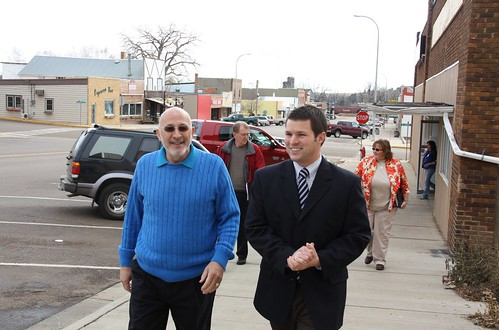 Rural Development State Director Jasper Schneider (Right) accompanied by Ed Gold, Economic Developer for Adams County (Left) on a tour of businesses funded by USDA Rural Development, during a stop in Hettinger.