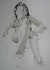 Winning in recent exhibition. Tatiana 2010, from life (Dona Mincia) Tags: bw woman art painting paper drawing exhibition gesture quick seated inkpen winning unb nankin sobradinho fromlife chinaink brasliadf
