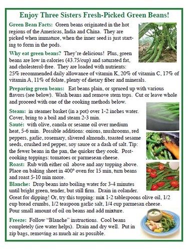 One of the crop-specific information cards developed by Three Sisters Garden volunteers, which was distributed with produce to low-income families.  The cards provided background information about the crop, key nutritional benefits, and simple ideas for preparation.