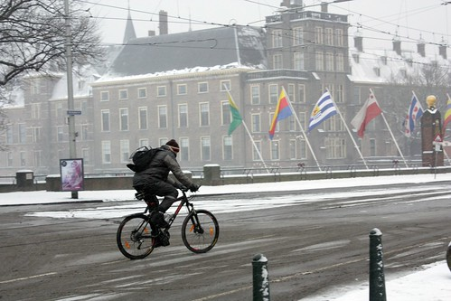 Bike in the snow — The Hague