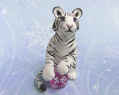 White Tiger with Dice (DragonsAndBeasties) Tags: sculpture white cute statue cat sweet stripes magic tiger small polymerclay fimo exotic fantasy gift jungle dungeonsanddragons kawaii sculpey etsy custom figurine premo 20sided