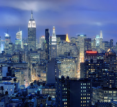 Midtown Manhattan and NoHo at Twilight, New York City (andrew c mace) Tags: above nyc roof newyork rooftop skyline 50mm twilight cityscape noho manhattan broadway empirestatebuilding chryslerbuilding grandcentral unionsquare parkavenue hugin colorefex nikoncapturenx nikond90 vertorama onemadisonpark