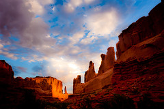 Park Avenue (Dan Ballard Photography) Tags: above travel light sunset vacation favorite color art nature colors beautiful beauty sunshine rock clouds rural sunrise walking landscape photography blog nationalpark nikon rocks flickr gallery arch photographer artistic photos hiking top great dramatic canyon best burning most photographs photograph valley canyonlands stunning land moab ballard portfolio archesnationalpark popular powerful coulds mesa rugged dreamscape cloudscapes lightroom gallary photograpy nohdr nothdr outdoorphotographer coloradophotographer d700 danballard danballardphotography danballardphotogarphy