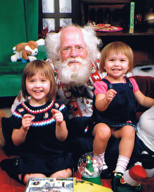 Jo and Lucy with Santa