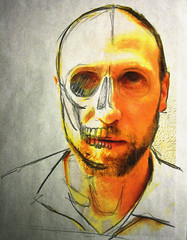 wherein I am briefly distracted by my own mortality (katachthonios) Tags: portrait pencil self skull mixed media pastel line mortality