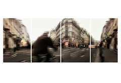 the fabric of urbanity () Tags: city urban man paris andy bicycle landscape movement andrea andrew uomo ciclista biker movimento paesaggio citt parigi bicicletta iphone panography benedetti