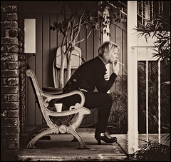 Having a Smoke (Bosquet) Tags: california ca city shadow portrait people blackandwhite bw woman plants black building tree texture cup girl lines wall sepia buildings bench person grey nikon sitting break shadows sandiego cigarette candid character smoke bricks gray monochromatic smoking sd sit blonde rest nik resting grayscale southerncalifornia 80 tones tobacco greyscale scal d80 nikond80 sharpenerpro silverefexpro