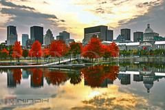 Montreal skyline at fall (Nino H) Tags: autumn canada reflection fall water colors skyline automne eau montral quebec montreal couleurs qubec oldmontreal pavillion bassin patinoire citysacpe vieuxmontral bonsecours rflexion gettyimagescanada