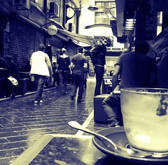 58 to go (~johnette~) Tags: blackandwhite melbourne laneway 365 coffeebreak iphone centreplace