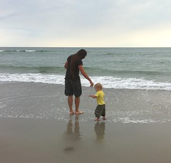 k and daddy on the beach