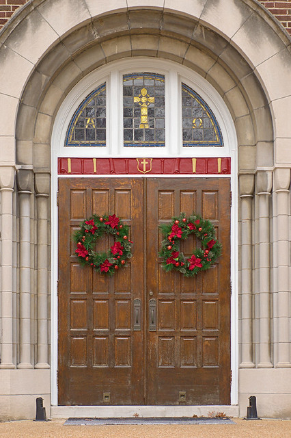 Immaculate Conception Roman Catholic Church, in Maplewood, Missouri, USA - door with Christmas wreathes