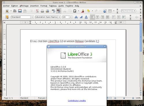 LibreOffice 3.3rc2 sous ArchLinux